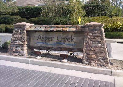 Aspen Creek Community Sign with Ledgestone vaneer built by AJM Construction Services, Orange County CA