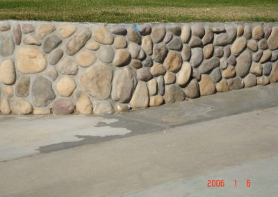 River rock ledgestone vaneer built by AJM Construction Services, Orange County CA