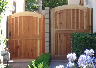 Custom Ornate Wood Gate built by AJM Construction Services, Fountain Valley CA