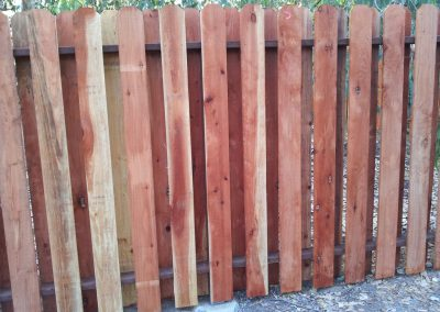 Staggered Dog Ear Redwood fence