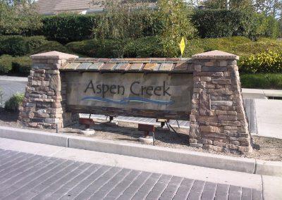 Aspen Creek Community Sign with Ledgestone vaneer built by AJM Construction Services, Orange County CA